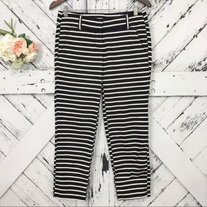 LOFT cream and black striped cropped pants size 0